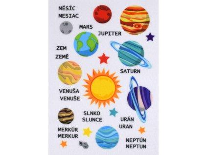 Planéty - plstený panel
