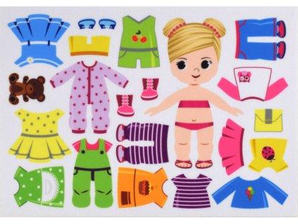 Obliekanie dievčatka/holčičky 15 cm vo variantách - plstený panel