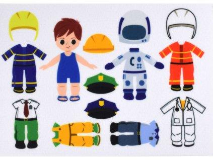 Obliekanie chlapec/kluk povolania - policajt, hasič, doktor, kozmonaut - plstený panel
