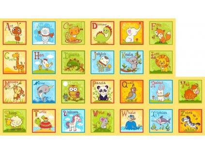 Zvieracia Anglická Abeceda - bavlnený panel