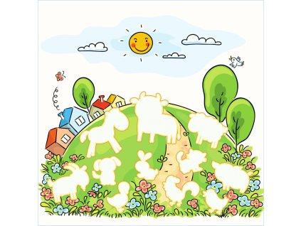"""Doplňovačka """"Farma"""" ako stránka - bavlnený panel s plsťou"""