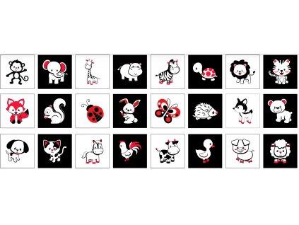 Zvieracie Čiernobiele Sady 20x20cm na Patchwork - bavlnený panel