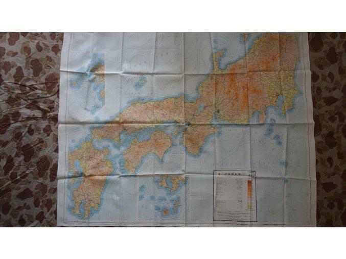 US mapa na textilu N. Japan - S. Japan