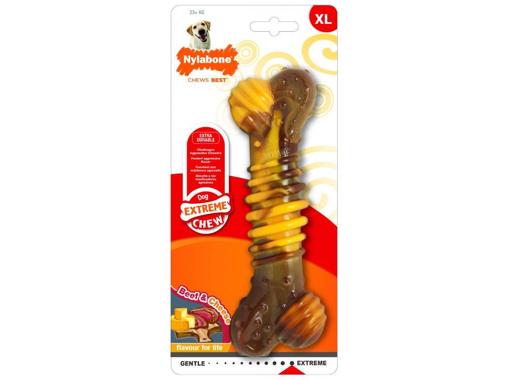 Hračka NYLAB Extreme Chew Texture Bone Steak&Cheese XL
