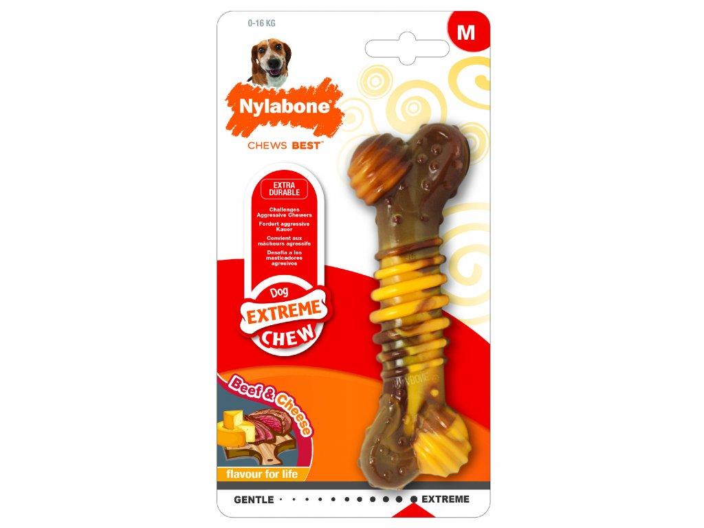Hračka NYLAB Extreme Chew Texture Bone Steak&Cheese M