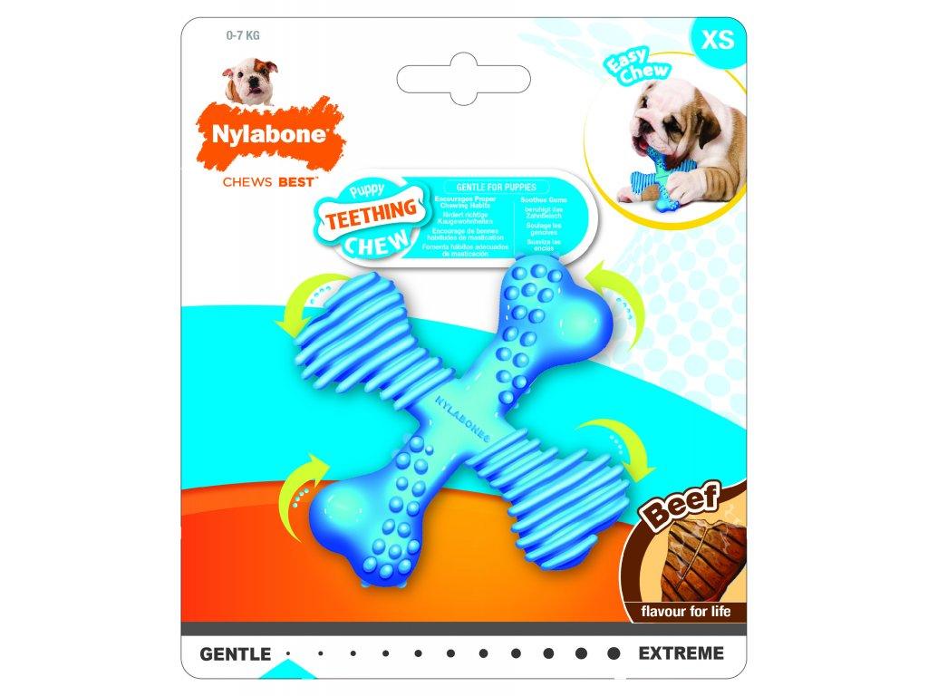 Hračka NYLAB Puppy Teething X Bone Beef S