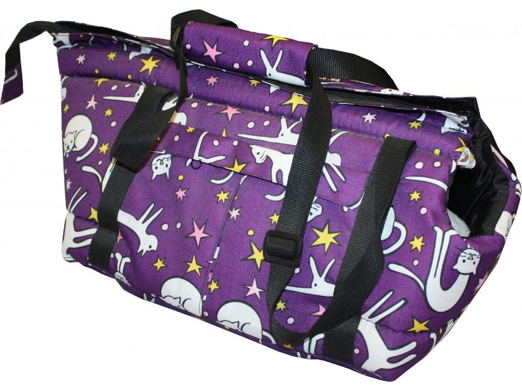 Huhubamboo taška fialová kočka M