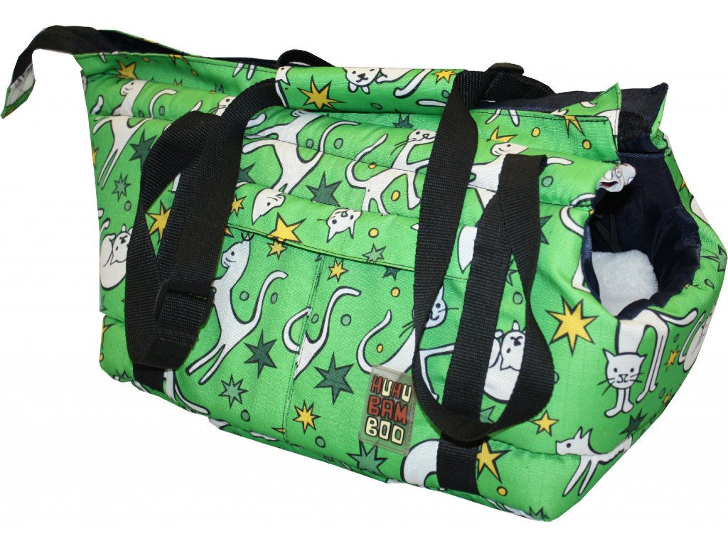 Huhubamboo taška zelená kočka M