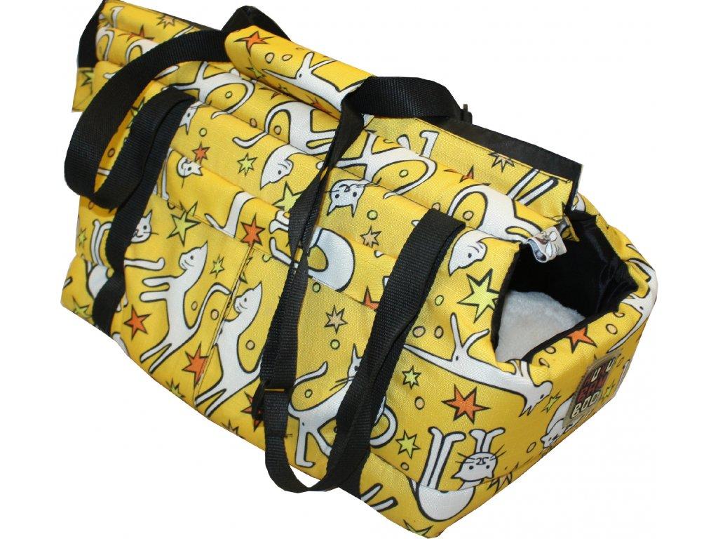 Huhubamboo taška žlutá kočka M