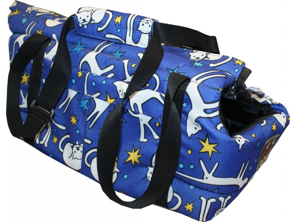 Huhubamboo taška modrá kočka M