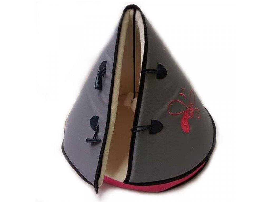 Huhubamboo teepee šedá+růžová 50cm
