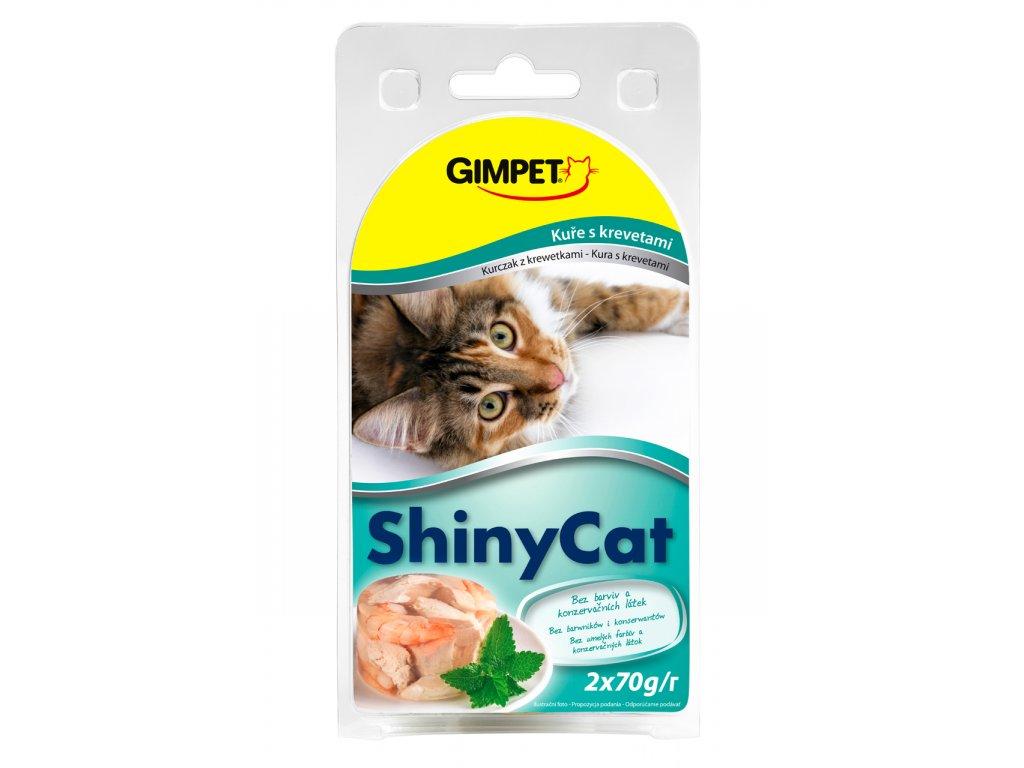 ShinyCat konzerva krevety+kuřecí 2x70g