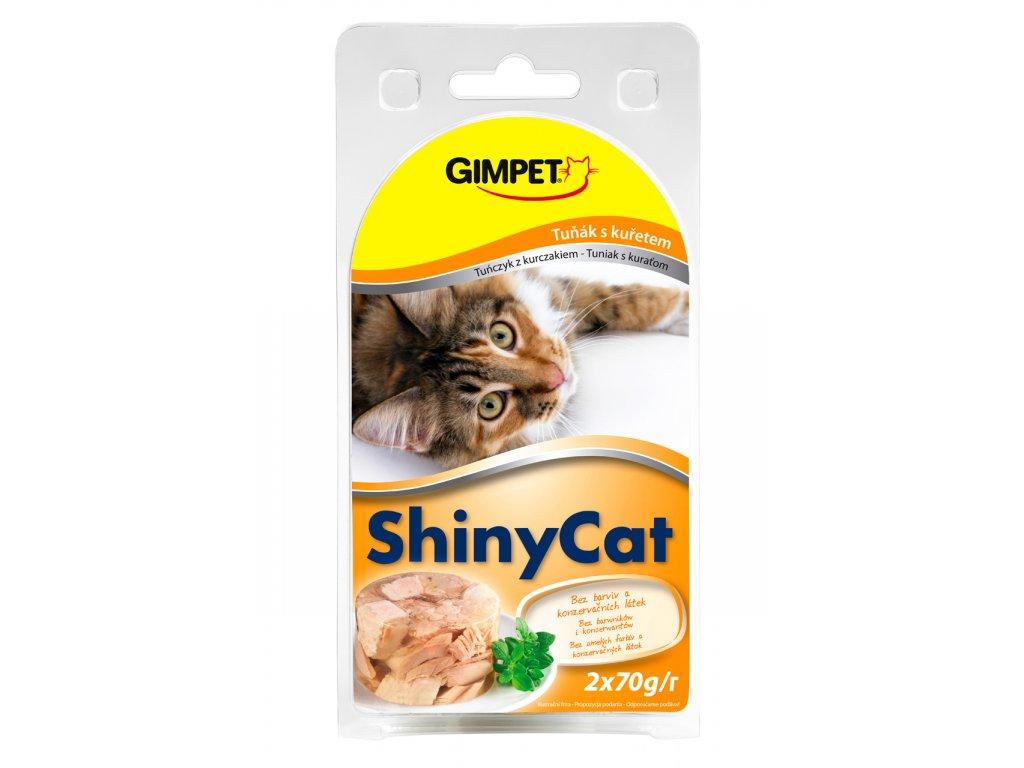 ShinyCat konzerva tuňák+kuřecí 2x70g