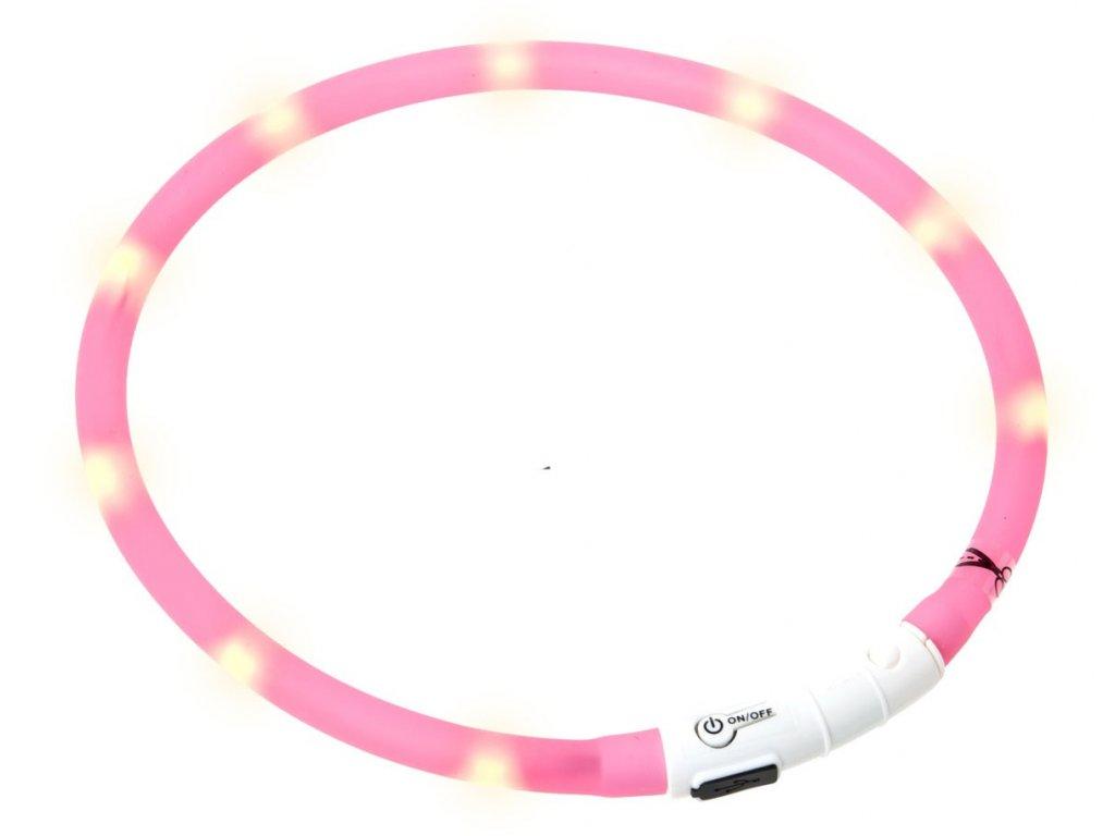 Karlie Visiolight svíticí LED obojek pro psy 70cm růžový