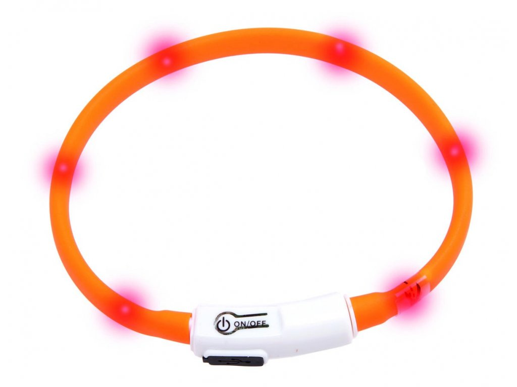 Karlie Visiolight svíticí LED obojek 35cm oranžový