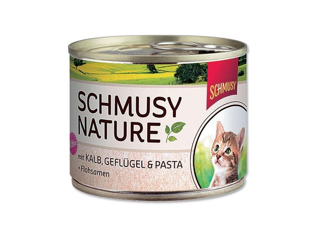 Finnern Schmusy Nature Kitten konzerva telecí+drůbež 190g