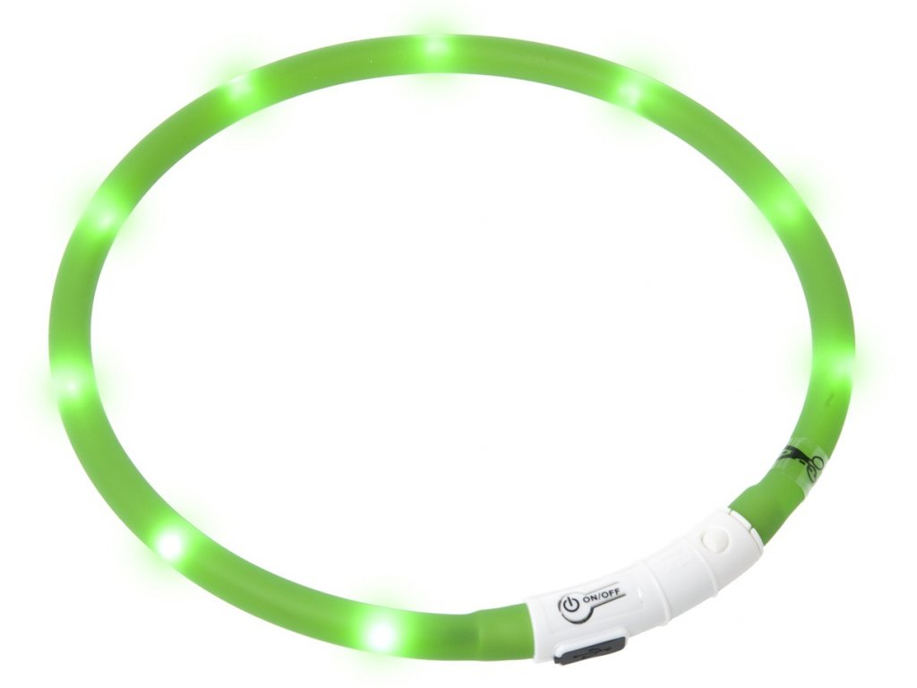 Karlie Visiolight svíticí LED obojek pro psy 70cm zelený