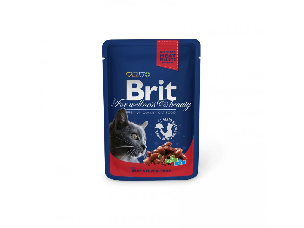 Kapsička Brit Cat Premium Pouches hovezi+hrasek 100g