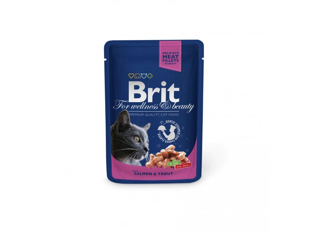 Kapsička Brit Cat Premium Pouches losos+pstruh 100g
