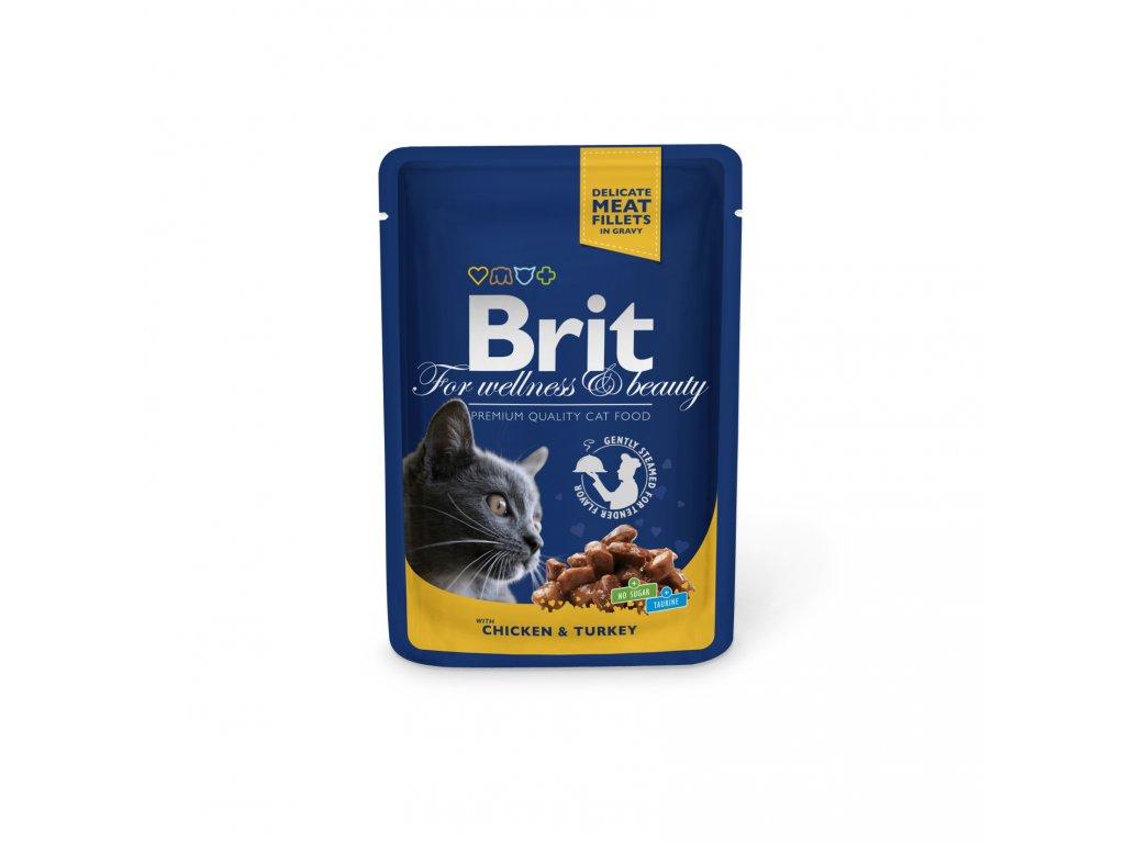 Kapsička Brit Cat Premium Pouches kuře+krůta 100g