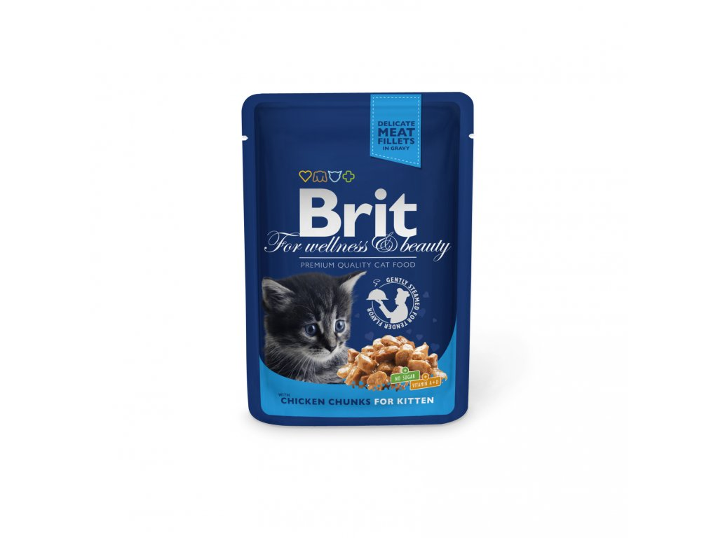 Kapsička Brit Cat Premium Pouches kuřecí kousky pro koťata 100g