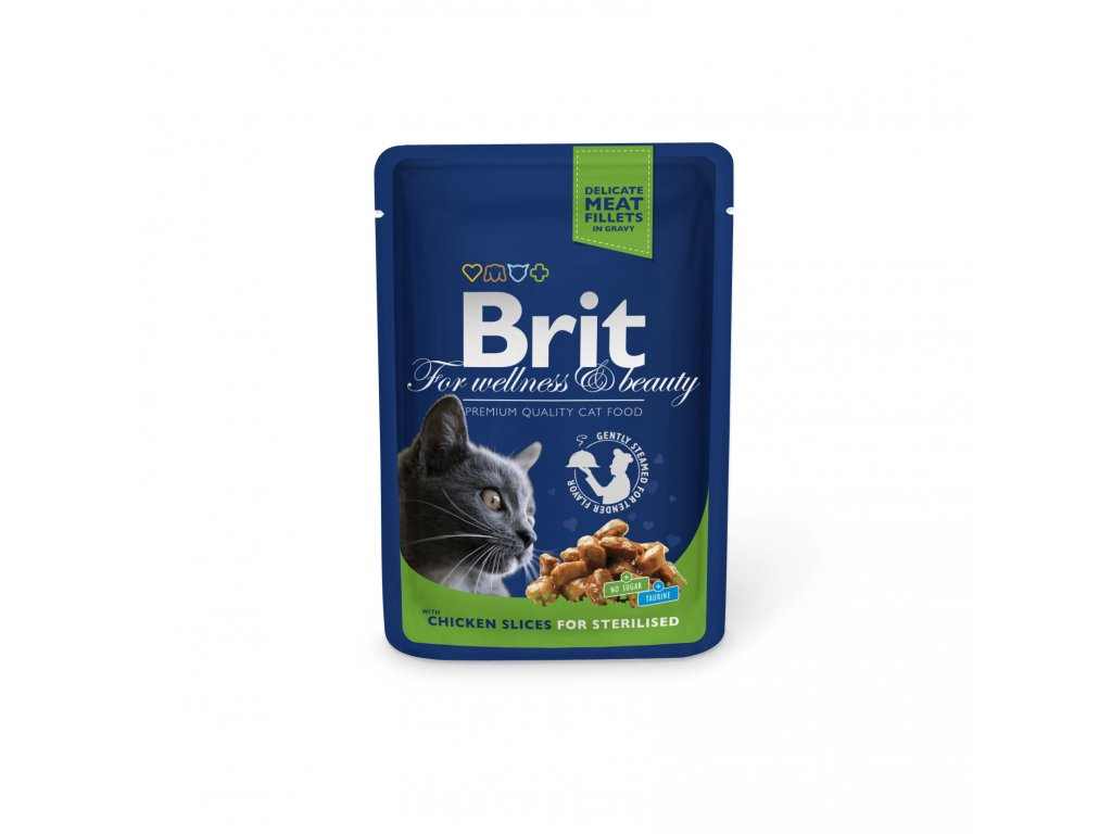 Kapsička Brit Cat Premium Pouches kuřecí plátky Sterilised 100g