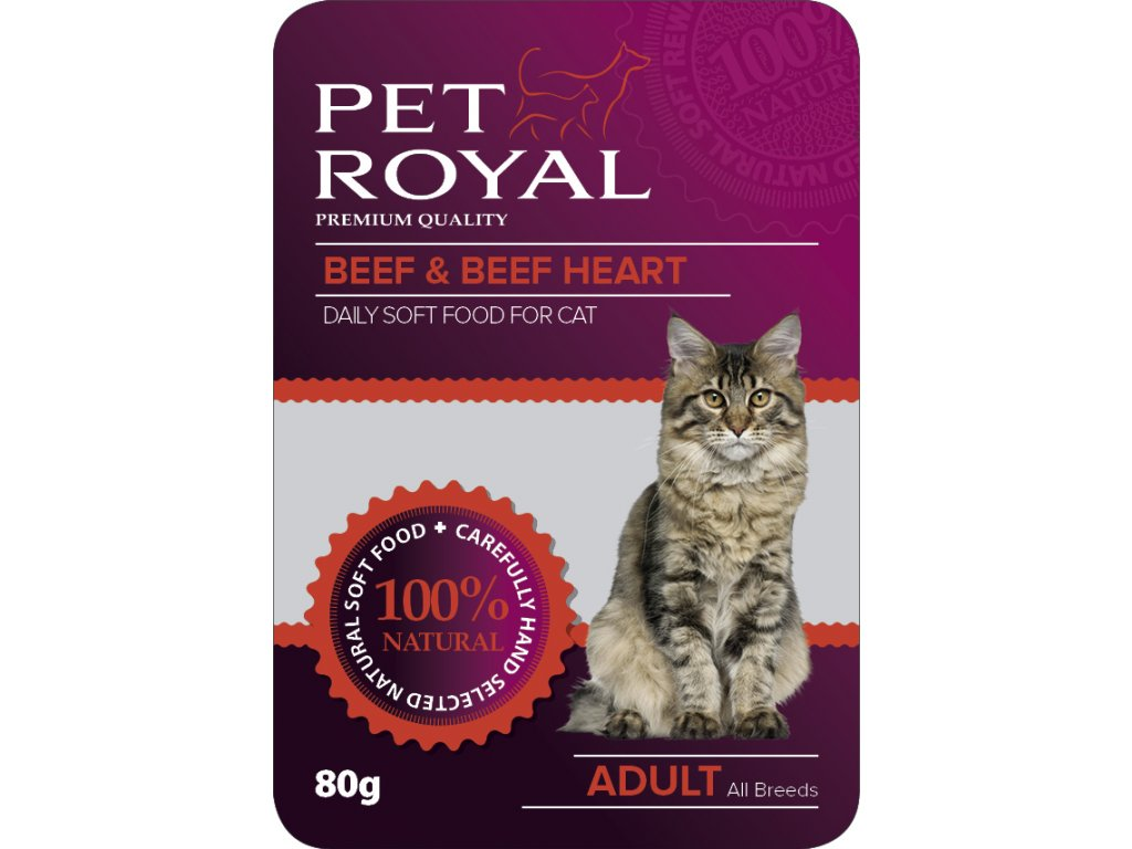 Kapsička Pet Royal Cat hovezi+hovezi srdce 80g