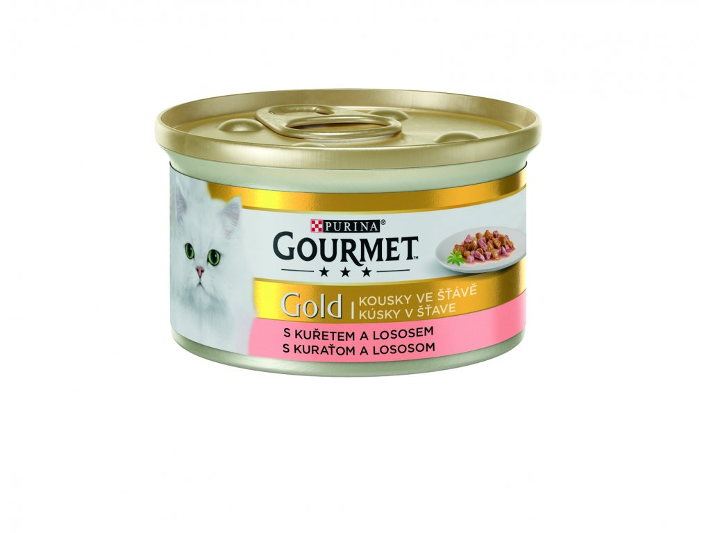 Konzerva Gourmet Gold kuře+losos 85g