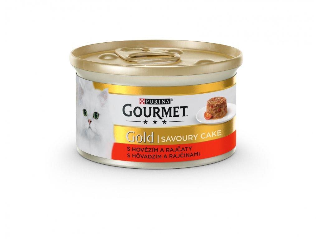 Konzerva GOURMET Gold Sav.Cake hovězí a rajče 85g