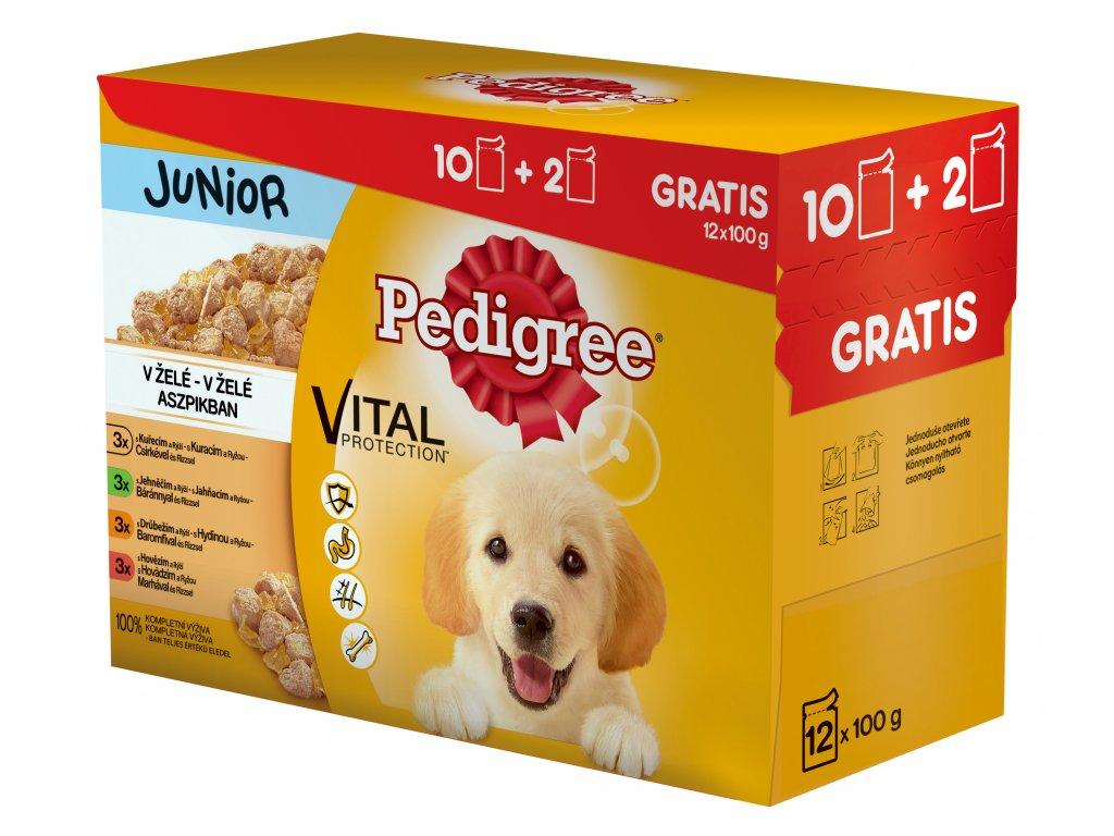 PEDIGREE kapsička 12 pack JUNIOR v ŽELÉ : s kuř. a rýží & jeh. a rýží & drů a rýží & s hov. a rýží 1200g