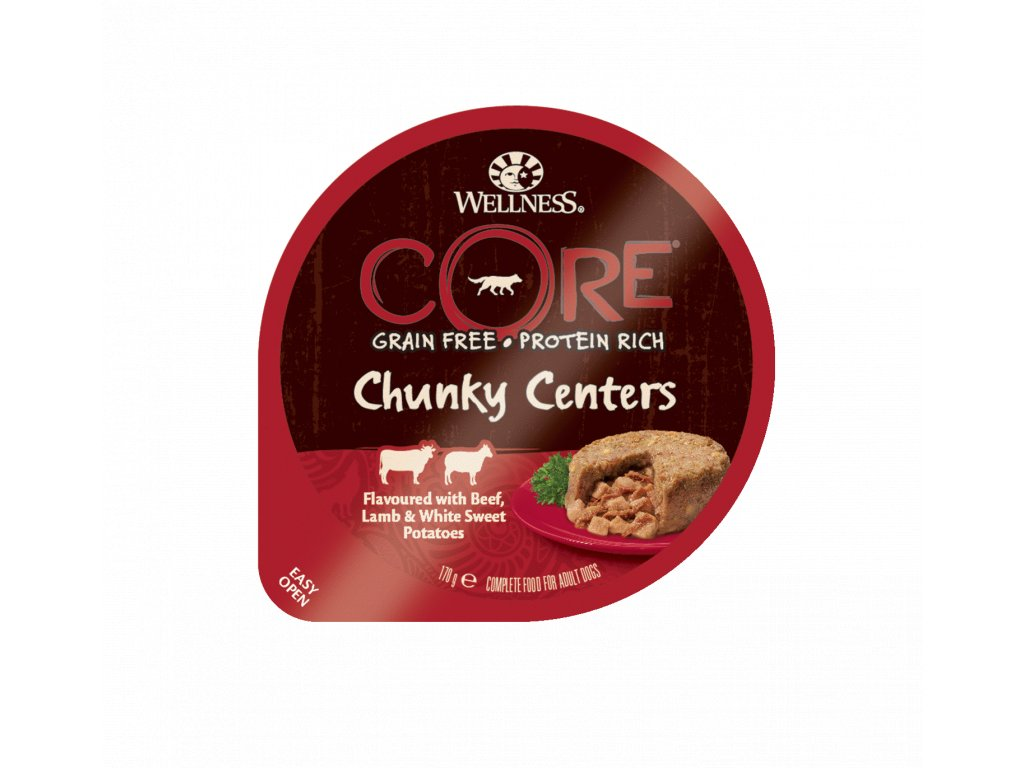 Wellness CORE Chunky Centers Flavoured with Beef, Lamb & White Sweet Potatoes 170g