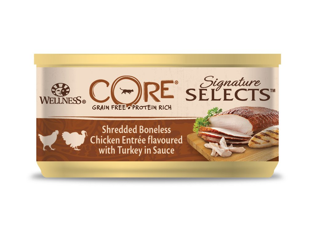 Wellness CORE Signature Selects Shredded Boneless Chicken Entrée flavoured with Turkey in Sauce 79g