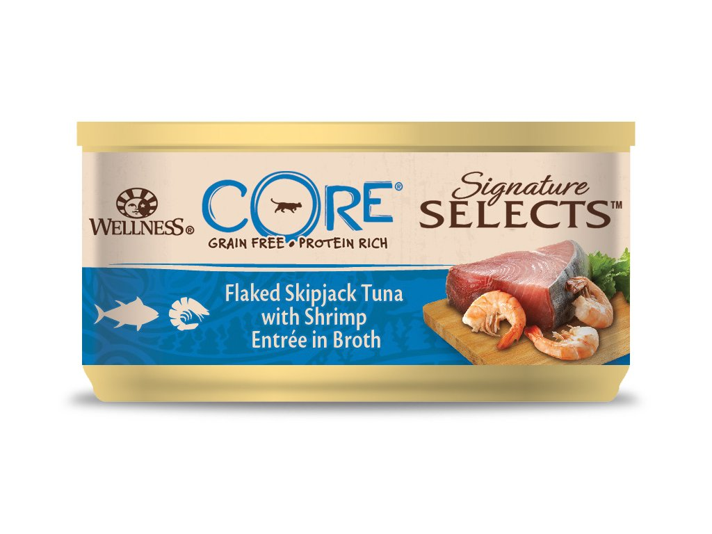 Wellness CORE Signature Selects Flaked Skipjack Tuna with Shrimp Entrée in Broth 79g
