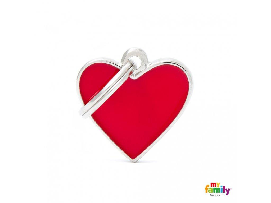 Známka Basic Handmade - srdce male cervene