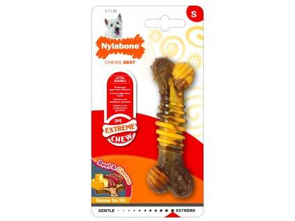 Hračka NYLAB Extreme Chew Texture Bone Steak&Cheese S