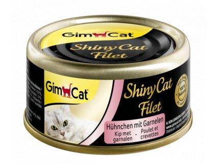 ShinyCat CHICKEN FILLET s krevetou v kuřecím vývaru 70 g (konzerva) (expirace: 30.11.2021)