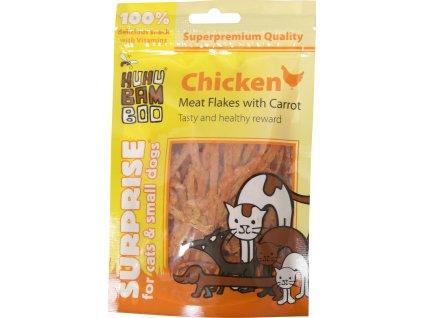 Huhubamboo Mini Soft kuřecí tenke proužky s mrkví 75g (expirace: 15.2.2021)