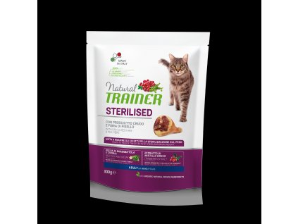Trainer Natural Cat Sterilised sušená šunka 300g