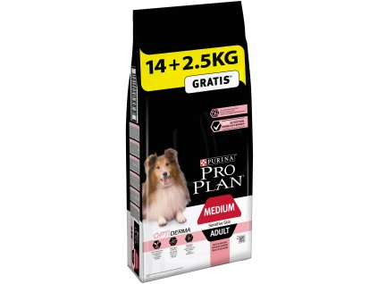 Purina Pro Plan Adult Medium Optiderma s lososem14+2,5kg zdarma