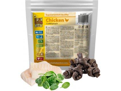 Huhubamboo  kuřecí uzel se špenátem a treskou 200g