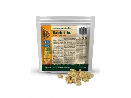 Huhubamboo  Excellnet kousky králík kůže+rýže 230g (expirace: 31.12.2021)