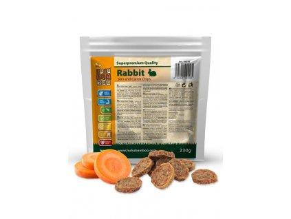 Huhubamboo  Excellent chipsy králík kůže+mrkev 230g (expirace: 31.12.2021)