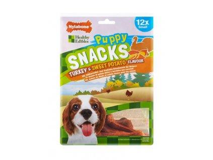 Nylabone Healthy Edibles Puppy Snacks sladké brambory&krůta S 12ks sáček 265g