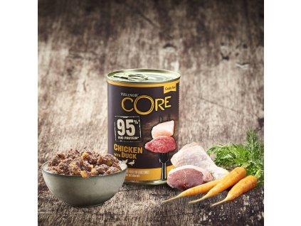 Konzerva Wellness CORE 95 Dog kuře a kachna 400g