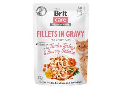 Brit Care Cat Fillets in GravyTurkey & Savory Salmon 85g