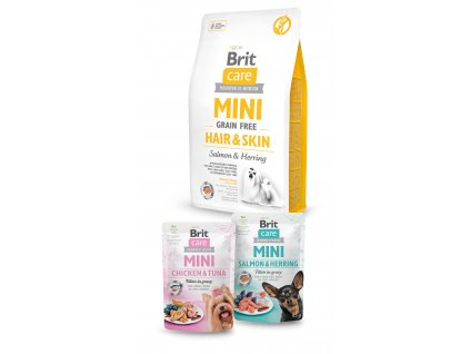 Brit Care Mini Grain Free Hair & Skin 2kg+2x pouch 85g ZDARMA