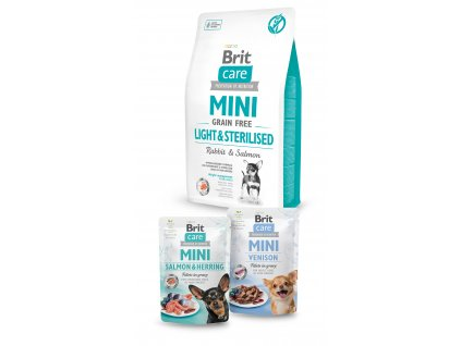 Brit Care Mini Grain Free Light & Sterilised 2kg+2x pouch 85g ZDARMA