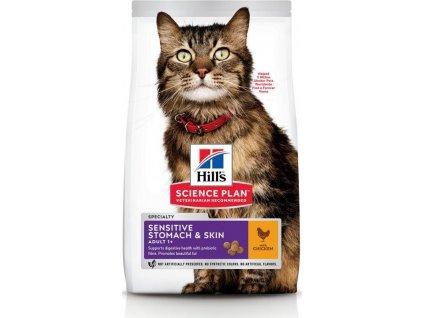Hills Feline SP Adult Sensitive Stomach&Skin Kuře 7kg (expirace: 30.01.2021)