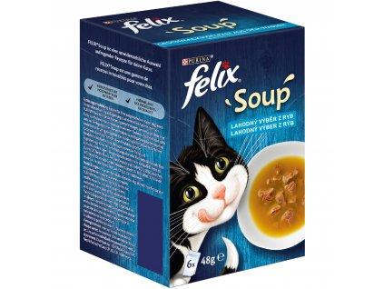 Kapsička FELIX Soup polévky s treskou, tuňákem a platýsem 6x48g