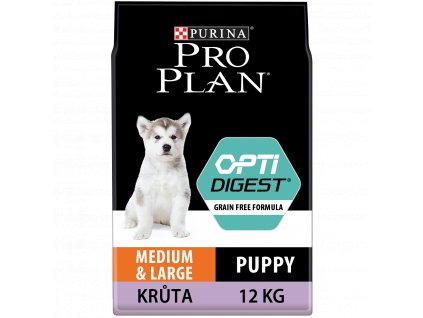 Purina Pro Plan Medium&Large Puppy Optidigest Grain Free krůta 12kg